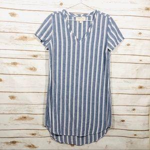 Cloth & Stone Blue Striped Linen Blend Dress